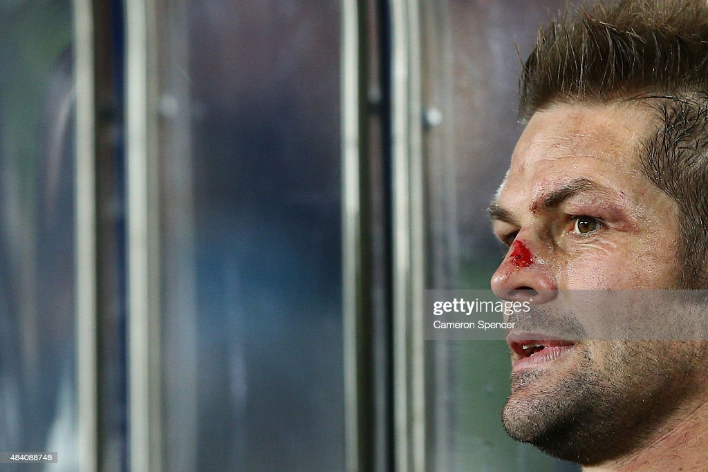 All Blacks captain Richie McCaw watches on from the bench during The Rugby Championship, Bledisloe Cup match between the New Zealand All Blacks and the Australian Wallabies at Eden Park on August 15, 2015 in Auckland, New Zealand.