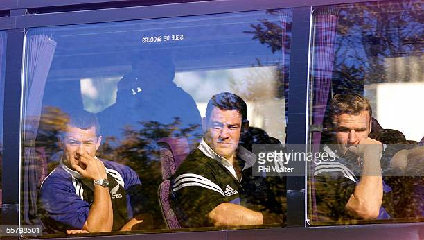All Black's Carlos SpencerMark Hammett and Scott Robertson inside the All Blacks bus upon their arrival at the Stade Velodrome in Marseille Friday...