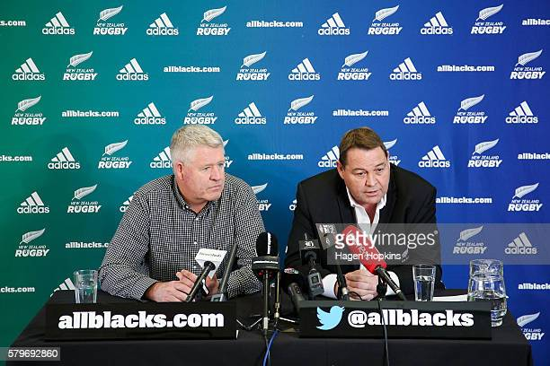 All Blacks coach Steve Hansen speaks to the media about his reappointment while NZRU CEO Steve Tew looks on during a New Zealand Rugby press...