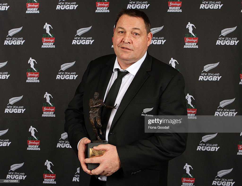 All Blacks coach <a gi-track='captionPersonalityLinkClicked' href=/galleries/search?phrase=Steve+Hansen&family=editorial&specificpeople=228915 ng-click='$event.stopPropagation()'>Steve Hansen</a> wins the award for New Zealand Rugby Coach of the Year during the 2013 Steinlager Rugby Awards at SkyCity Convention Centre on December 5, 2013 in Auckland, New Zealand.