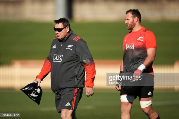 All Blacks head coach Steve Hansen and Kieran Read of the All Blacks look on during the New Zealand All Blacks captain's run at North Sydney Oval on...