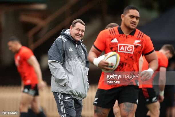All Blacks head coach Steve Hansen looks on during a New Zealand All Blacks training session at North Sydney Oval on August 15 2017 in Sydney...