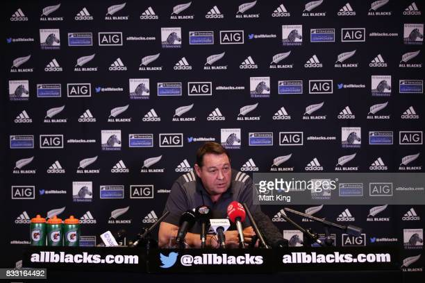 All Blacks head coach Steve Hansen speaks to the media during a New Zealand All Blacks press conference at The Intercontinental on August 17 2017 in...