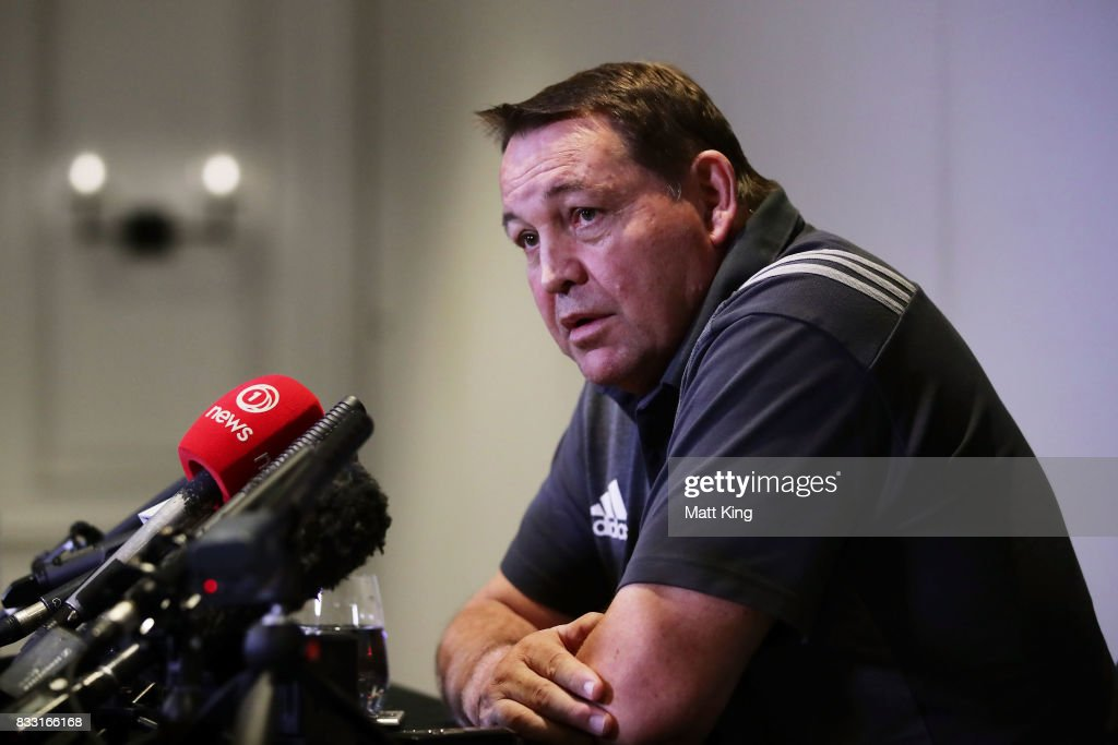 All Blacks head coach Steve Hansen speaks to the media during a New Zealand All Blacks press conference at The Intercontinental on August 17, 2017 in Sydney, Australia.