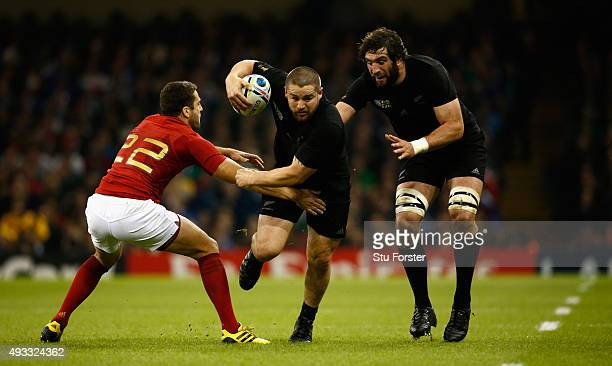 All Blacks hooker Dane Coles in action during the 2015 Rugby World Cup Quarter Final match between New Zealand and France at Millennium Stadium on...