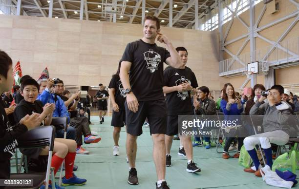 All Blacks legend Richie McCaw visits Kamaishi Iwate Prefecture on May 27 in his project to support children affected by the 2011 earthquaketsunami...