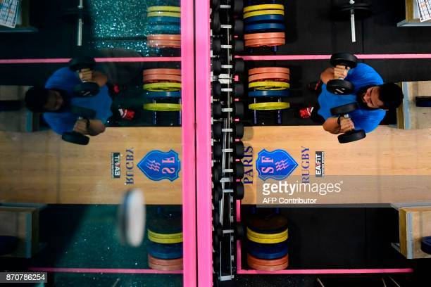 All Blacks' lock Patrick Tuipulotu attends a weight lifting session on November 6 2017 at the Jean Bouin stadium five days ahead their test match...