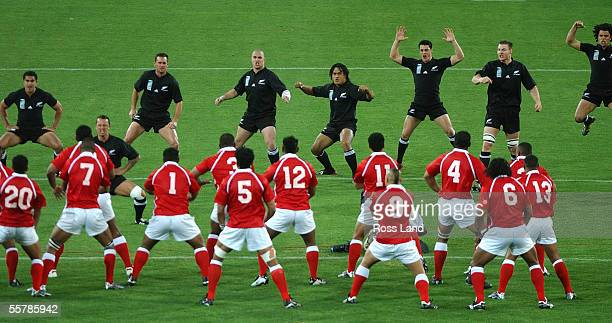 All Blacks Mils Muliaina Carlos Spencer Caleb Ralph Corey Flynn Rodney So'oialo Daniel Carter Ali Williams and Doug Howlett perform the Haka as the...