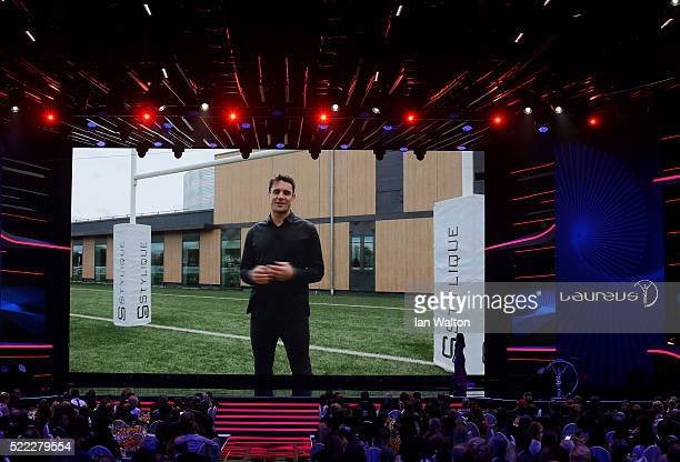 All Blacks player Dan Carter via video link accepts his Laureus World Comeback of the Year trophy during the 2016 Laureus World Sports Awards at the...