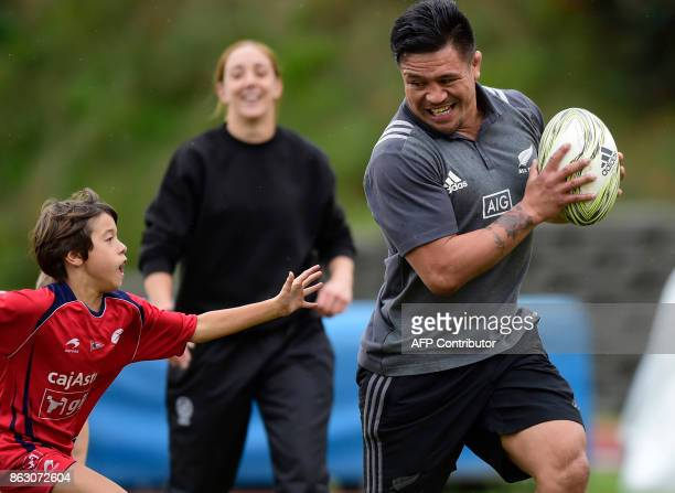 All Black's player Keven Mealamu 2017 Princess of Asturias Award for Sports plays rugby with children at the San Lazaro stadium in Oviedo on October...
