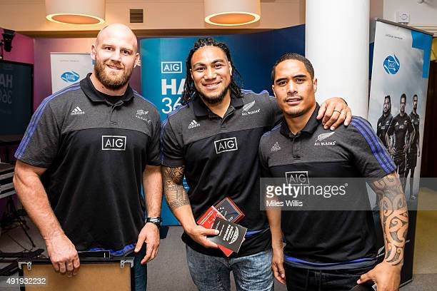 All Blacks players Ben Franks Ma'a Nonu and Aaron Smith pose for a picture after surprising a local U15s rugby team at the Discover Centre on October...