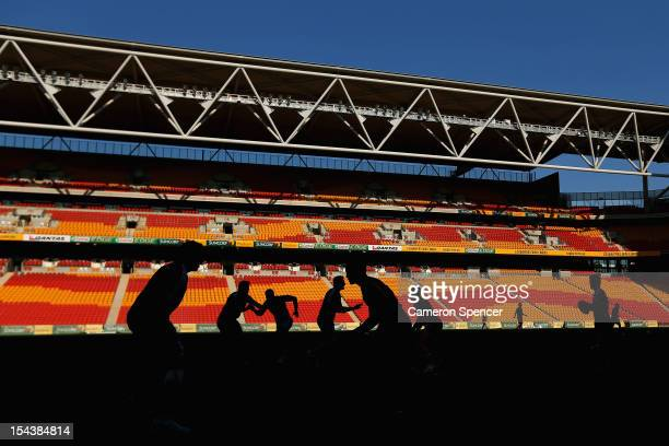 All Blacks players participate in a game of gridiron during the New Zealand All Blacks captain's run at Suncorp Stadium on October 19 2012 in...