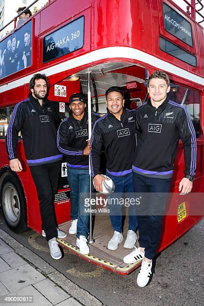 All Blacks players Sam Whitelock Waisake Naholo Keven Mealamu and Beauden Barrett enjoy an open top bus tour with sponsor AIG on September 26 2015 in...