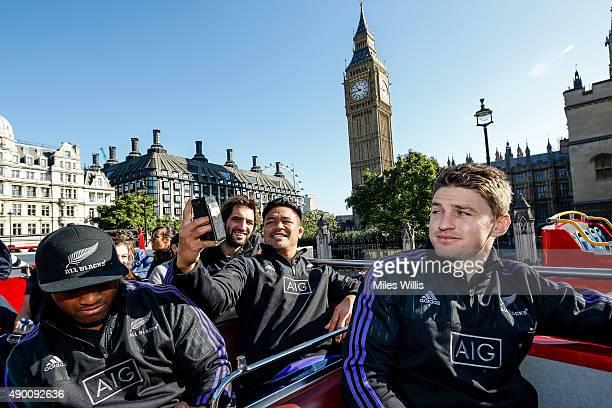 All Blacks players Waisake Naholo Sam Whitelock Keven Mealamu and Beauden Barrett enjoy an open top bus tour with sponsor AIG on September 26 2015 in...