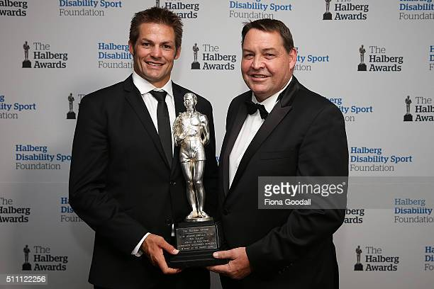 All Blacks Richie McCaw and coach Steve Hansen with the Halberg Award during the 2016 Halberg Awards at Vector Arena on February 18 2016 in Auckland...