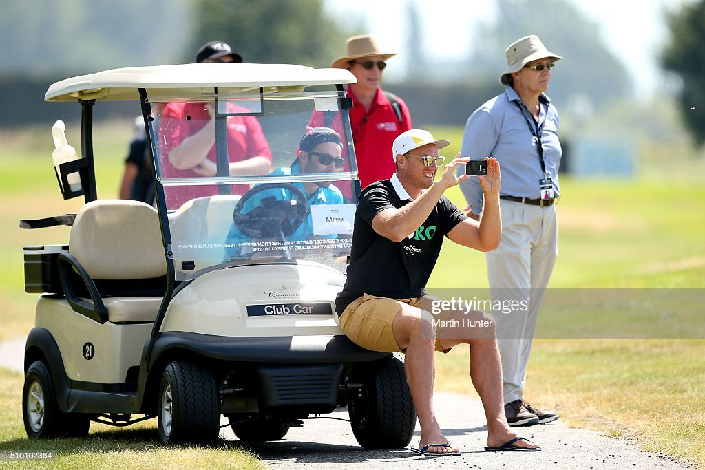 All Blacks rugby player <a gi-track='captionPersonalityLinkClicked' href=/galleries/search?phrase=Israel+Dagg&family=editorial&specificpeople=2086281 ng-click='$event.stopPropagation()'>Israel Dagg</a> takes a photo of Lydia Ko during the 3rd round of the New Zealand Women's Open at Clearwater Golf Club on February 14, 2016 in Christchurch, New Zealand.