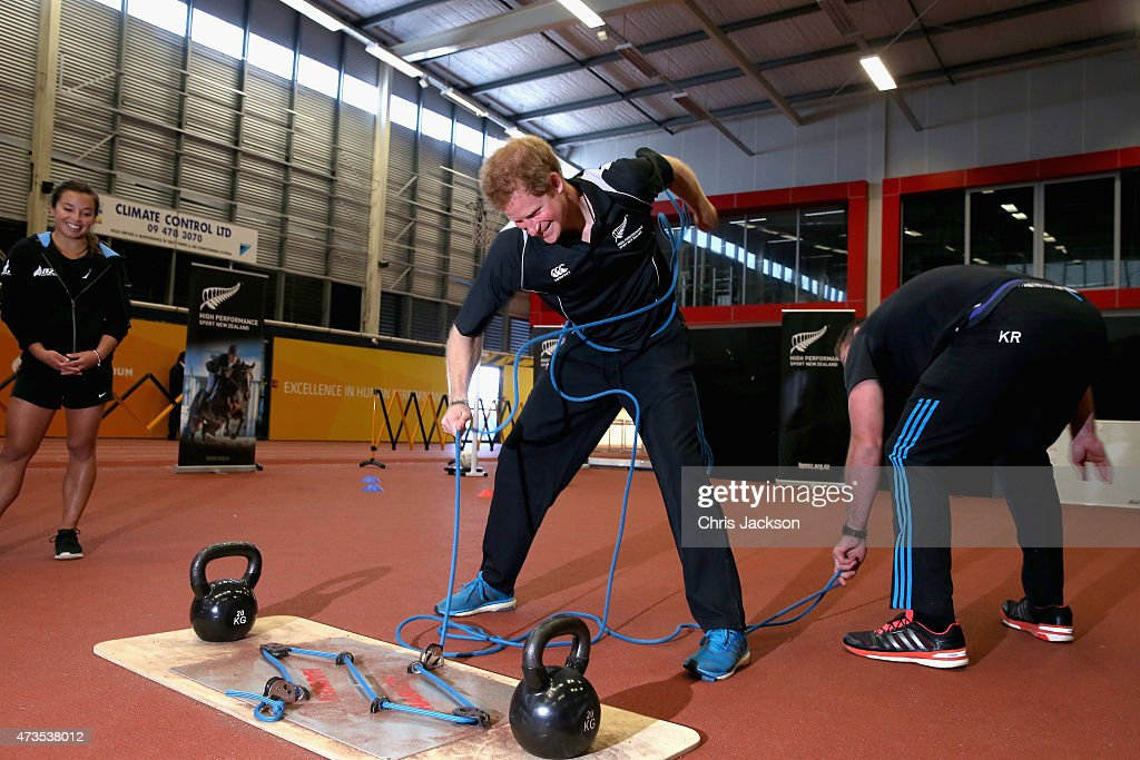 All Blacks Rugby Player Kieran Read and Prince Harry take part in a sailing training exercise at the AUT Millenium Institute on May 16 2015 in...