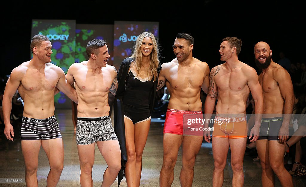 All Blacks rugby players (L-R) <a gi-track='captionPersonalityLinkClicked' href=/galleries/search?phrase=Tawera+Kerr-Barlow&family=editorial&specificpeople=5538648 ng-click='$event.stopPropagation()'>Tawera Kerr-Barlow</a>, TJ Perenara, Nikki Philips, <a gi-track='captionPersonalityLinkClicked' href=/galleries/search?phrase=Victor+Vito&family=editorial&specificpeople=677327 ng-click='$event.stopPropagation()'>Victor Vito</a>, Gillies Kaka and <a gi-track='captionPersonalityLinkClicked' href=/galleries/search?phrase=DJ+Forbes&family=editorial&specificpeople=4217962 ng-click='$event.stopPropagation()'>DJ Forbes</a> showcase designs by Jockey in the Resene Designer Selection Show at New Zealand Fashion Week 2014 on August 28, 2014 in Auckland, New Zealand.