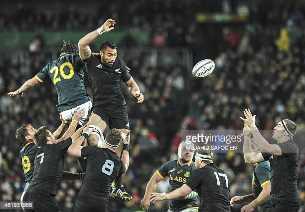 All Blacks rugby team wins a line out during South Africa versus New Zealand test in Johannesburg on July 25 2015 SAFODIEN