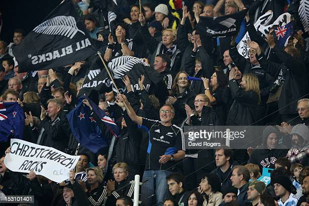 All Blacks supporters celebrate during the Rugby Championship match between Argentina and the New Zealand All Blacks at Estadio Ciudad de La Plata on...