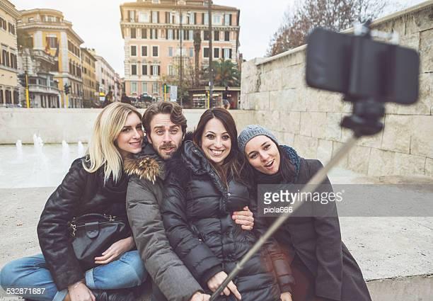 """Los locos por el """"selfie"""" palo."""
