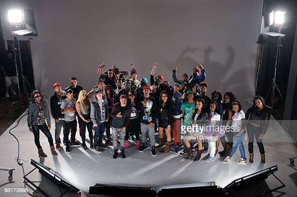 All crews pose during The Bangz New Boyz music video shoot on November 17 2009 in Los Angeles California