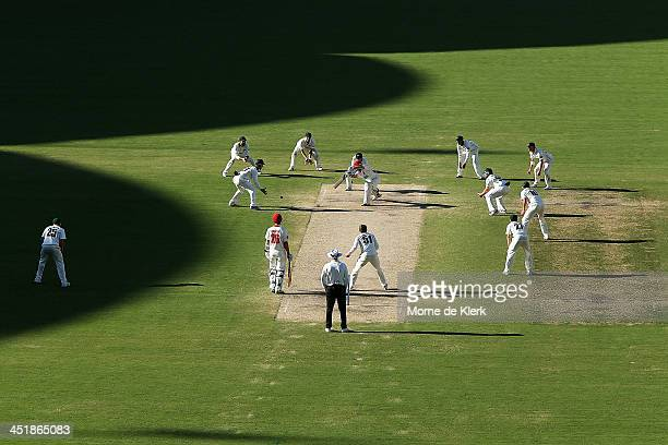 All eleven Tigers fielders close in on the batsmen late in the day during day four of the Sheffield Shield match between the South Australia Redbacks...