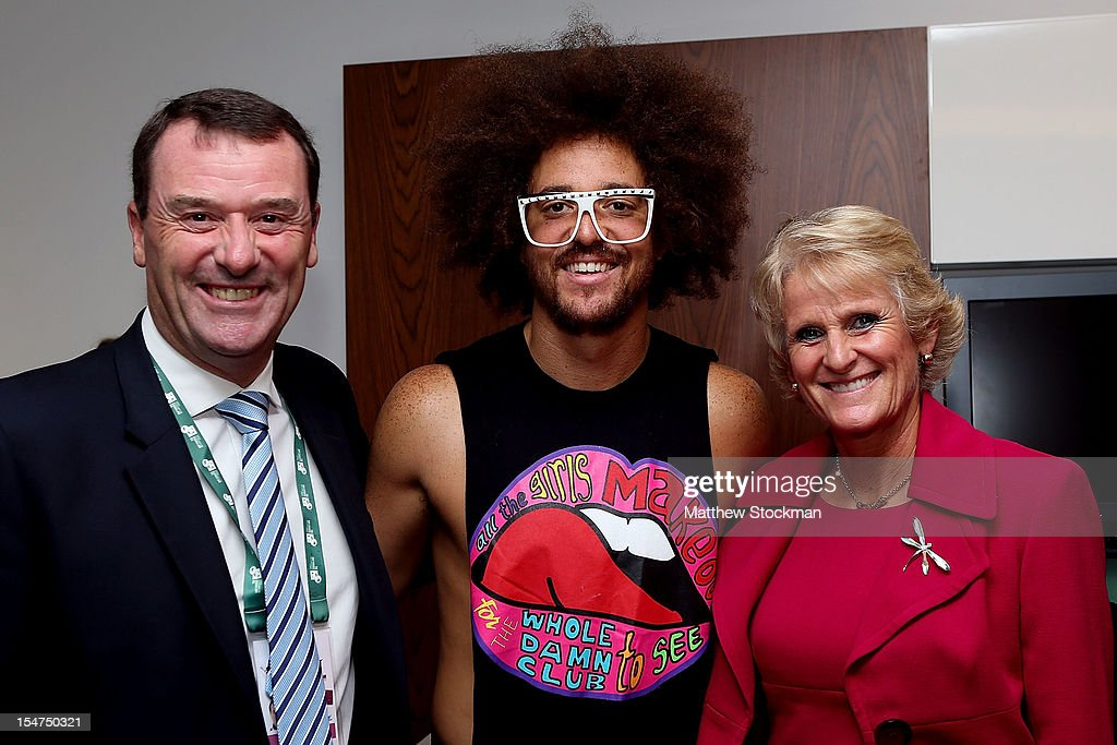 All England Lawn Tennis Club Chairman Philip Brook and Gill Brook meet international superstar Red Foo during the TEB BNP Paribas WTA Championships at the Sinan Erdem Dome October 25, 2012 in Istanbul, Turkey.