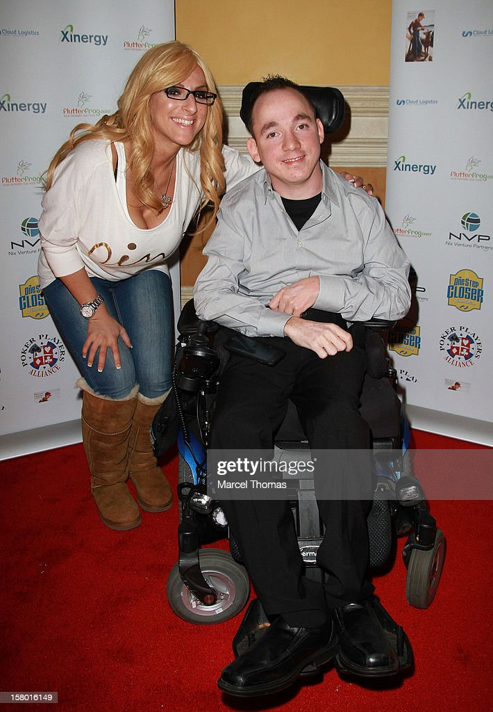 'All in for CP' founder Jacob Zalewski and adult movie actress Tyler Stephens (L) attend the 5th Annual 'All in for CP' Celebrity Poker tournament at the Venetian Hotel and Casino Resort on December 8, 2012 in Las Vegas, Nevada.