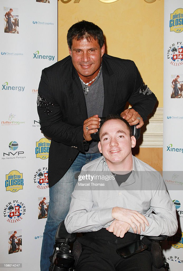 'All in for CP' founder Jacob Zalewski and former MLB player <a gi-track='captionPersonalityLinkClicked' href=/galleries/search?phrase=Jose+Canseco&family=editorial&specificpeople=203063 ng-click='$event.stopPropagation()'>Jose Canseco</a> attend the 5th Annual 'All in for CP' Celebrity Poker tournament at the Venetian Hotel and Casino Resort on December 8, 2012 in Las Vegas, Nevada.