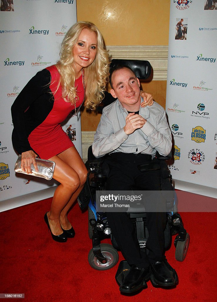 'All in for CP' founder Jacob Zalewski and Playboy playmate Stacey Fuson (L) attend the 5th Annual 'All in for CP' Celebrity Poker tournament at the Venetian Hotel and Casino Resort on December 8, 2012 in Las Vegas, Nevada.