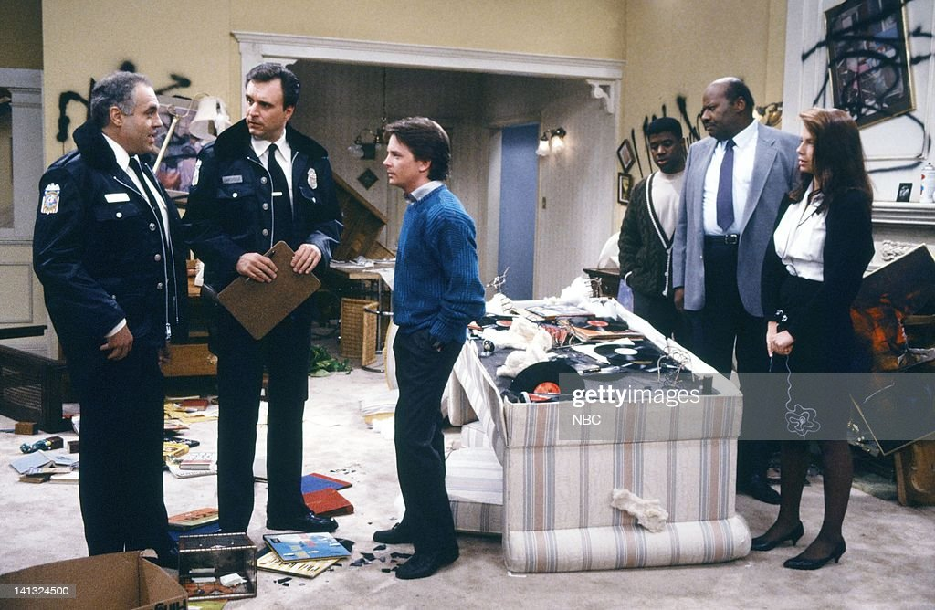 TIES 'All In The Neighborhood Part 2' Episode 18 Pictured Charles Bouvier as Officer Larson Dan Gilvezan as Officer Steele Michael J Fox as Alex P...