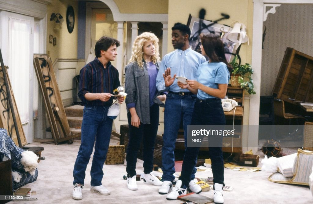 TIES 'All In The Neighborhood Part 2' Episode 18 Pictured Michael J Fox as Alex P Keaton Tina Yothers as Jennifer Keaton Keith Amos as Michael...