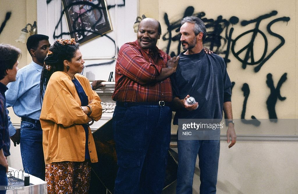TIES 'All In The Neighborhood Part 2' Episode 18 Pictured Michael J Fox as Alex P Keaton Keith Amos as Michael Thompson Rosalind Cash as Maya...
