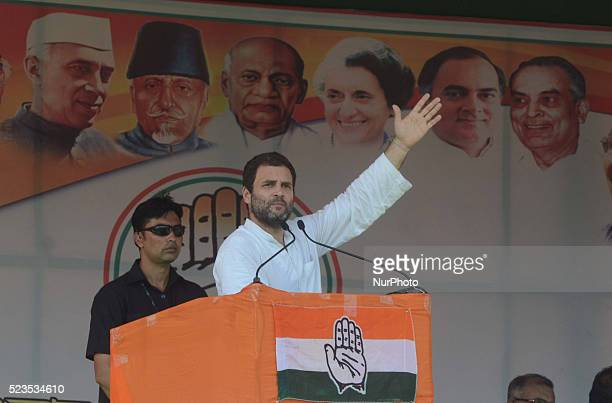 All India Congress Committee Vice President Rahul Gandhi addressing at the Election Campaign rally during State Assembly Election at North 24 Pargana...