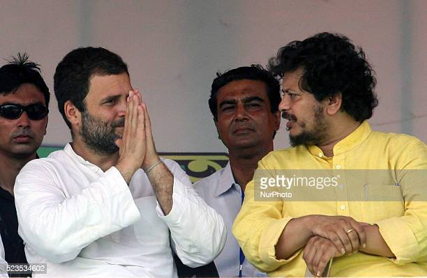 All India Congress Committee Vice President Rahul Gandhi along CPI MP Ritabharata at the Election Campaign rally during State Assembly Election at...