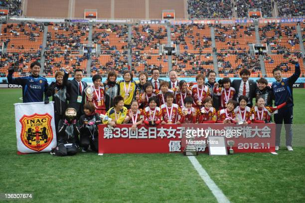 All Japan Women's Soccer Championship champions INAC Kobe Leonessa pose for photograph after the All Japan Women's Soccer Championship Final match...