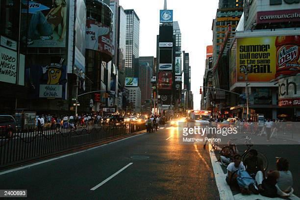 All lights are out in Times Square during the east coast blackout August 14 2003 in New York City