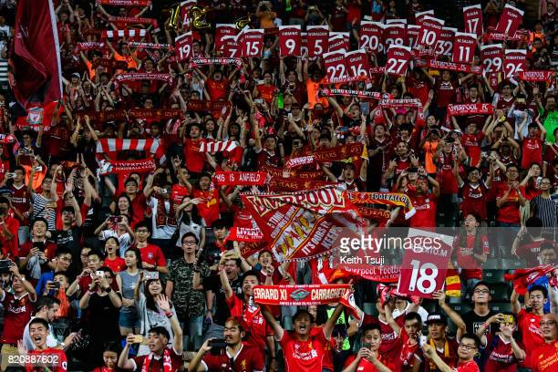 All Liverpool fans celebrate at the Premier League Asia Trophy match after defeating Leicester City FC 21 in the final at Hong Kong Stadium on July...