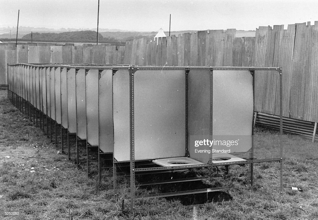 All mod cons at the Isle of Wight pop festival toilet facilities.