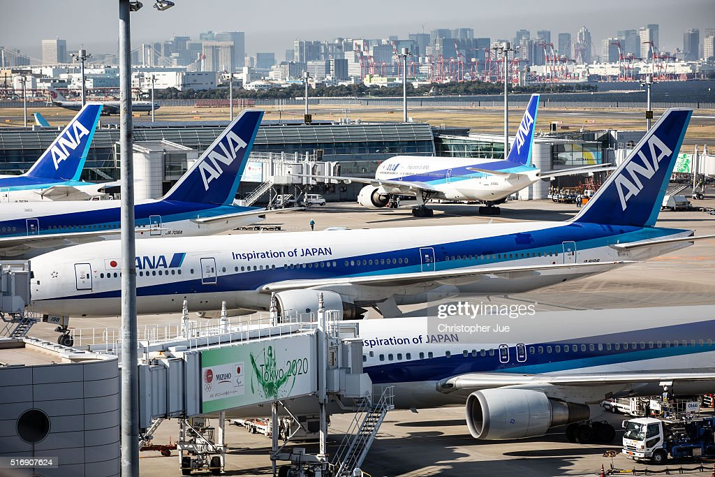 All Nippon Airways aircrafts are seen on the tarmac at Haneda Airport on March 22 2016 in Tokyo Japan A failure with the checkin system of All Nippon...