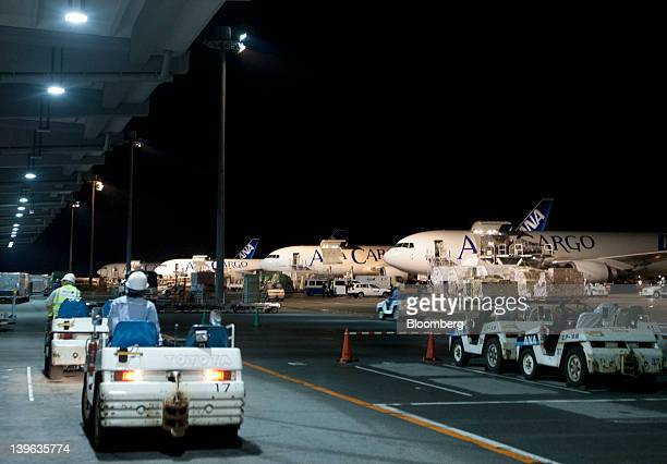 All Nippon Airways Co cargo aircrafts are parked at the company's cargo hub terminal at Naha Airport in Naha City Okinawa Prefecture Japan on Friday...