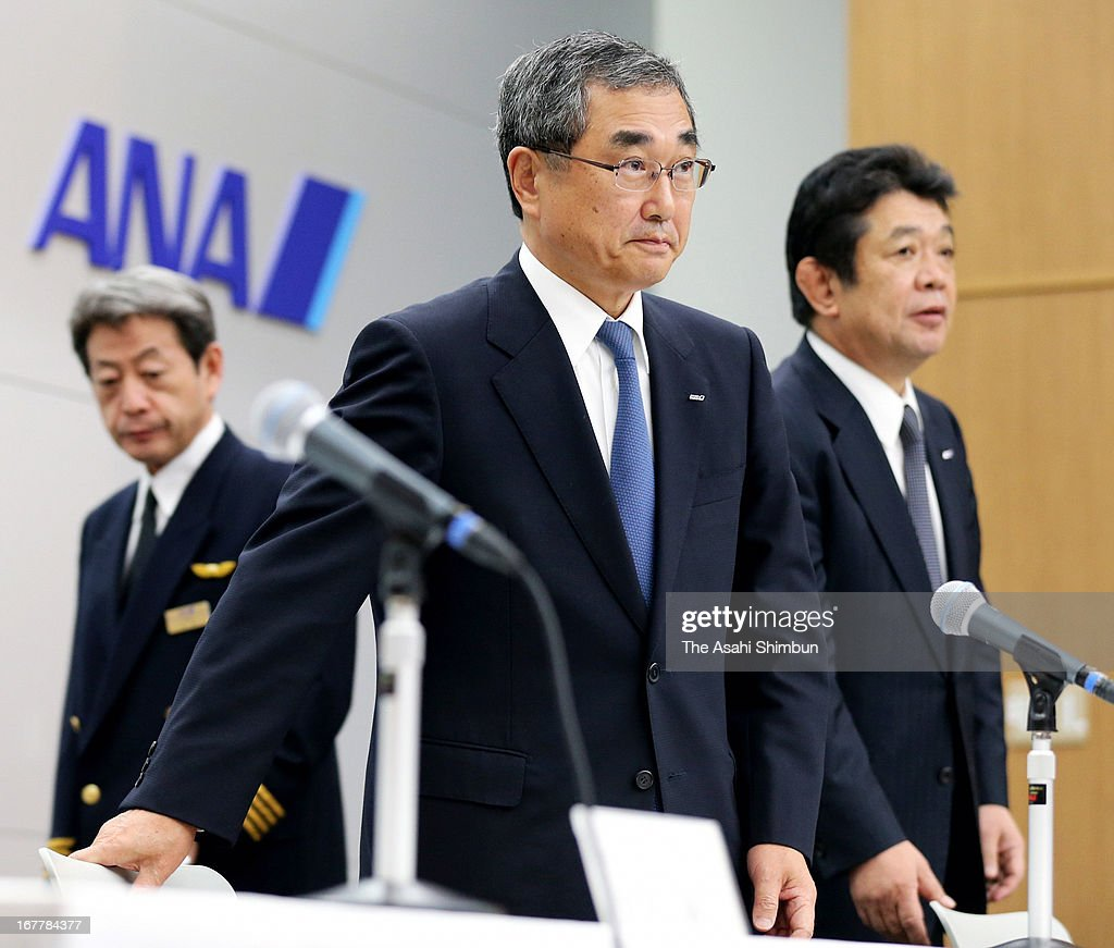 All Nippon Airways Holdings Chairman of the board <a gi-track='captionPersonalityLinkClicked' href=/galleries/search?phrase=Shinichiro+Ito&family=editorial&specificpeople=5666038 ng-click='$event.stopPropagation()'>Shinichiro Ito</a> attends a press conference after the test flight at Tokyo International Airport on April 28, 2013 in Tokyo, Japan. The Boeing 787 Dreamliner has been grounded after an emergency landing because of smoldering from batteries in January.