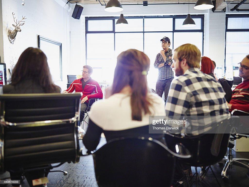 All office meeting in high tech startup office