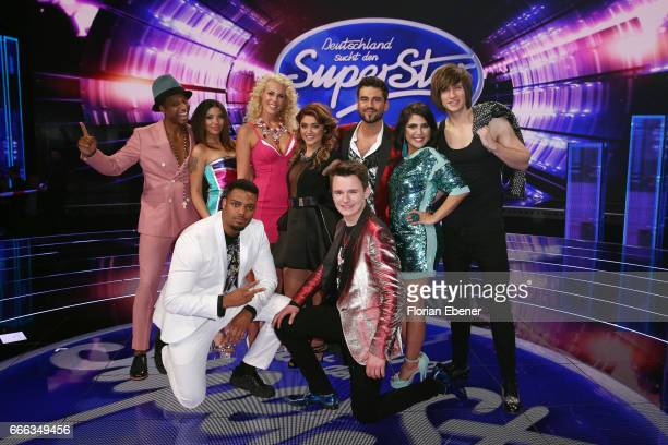 All participants pose for a group photo during the first event show of the tv competition 'Deutschland sucht den Superstar' at Coloneum on April 8...