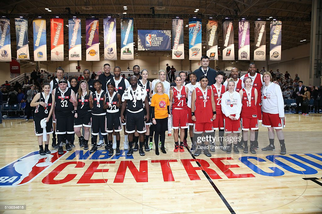 All participants pose for a group photo during the NBA Cares Special Olympics Unified Game as part of 2016 All-Star Weekend at the Enercare Centre on February 13, 2016 in Toronto, Ontario, Canada.
