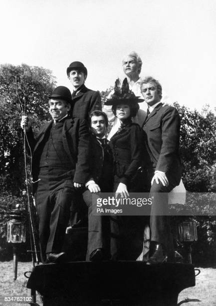 All posed up in Victorian style are from left Tony Hancock Peter Cook Dudley Moore Nanette Newman John Mills and Michael Caine The get together was...