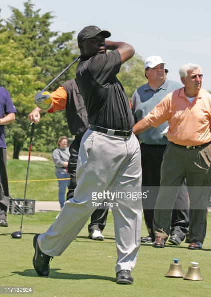 All Pro Running Back two time Super Bowl Champ from the St Louis Rams Marshall Faulk tees off at the 1st hole of the Ron Jaworski Celebrity Golf...
