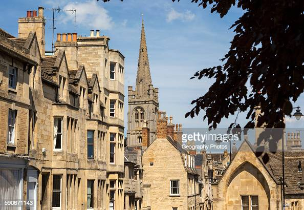 All Saints church spire and buildings in Stamford Lincolnshire England UK