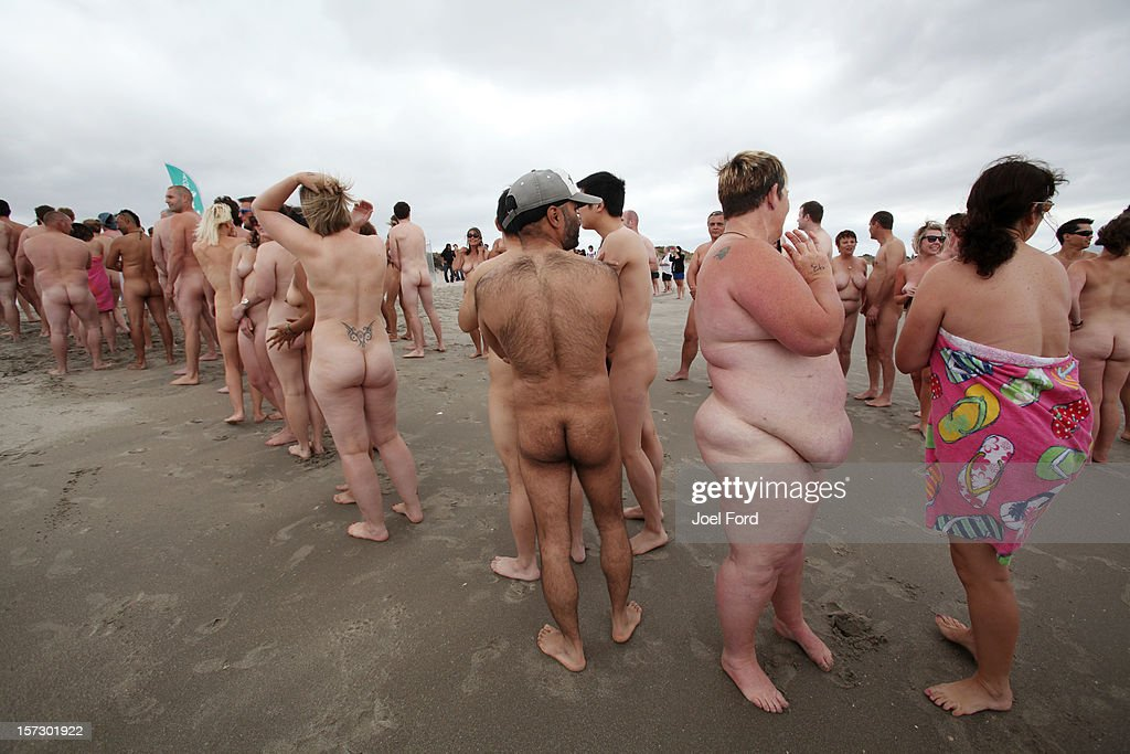 All shapes and sizes showed up at an attempt to break the skinny dip world record at Papamoa Beach on December 2, 2012 in Tauranga, New Zealand.